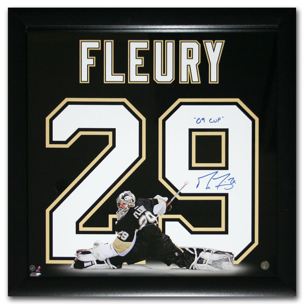 Marc-Andre Fleury Autographed Pittsburgh Penguins 20X20 Uniframe Display w/09 CUP Inscription