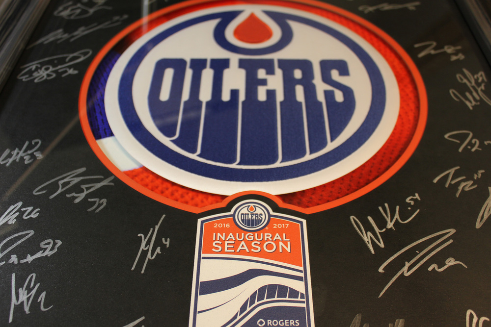 Framed Autographed Edmonton Oilers Crest