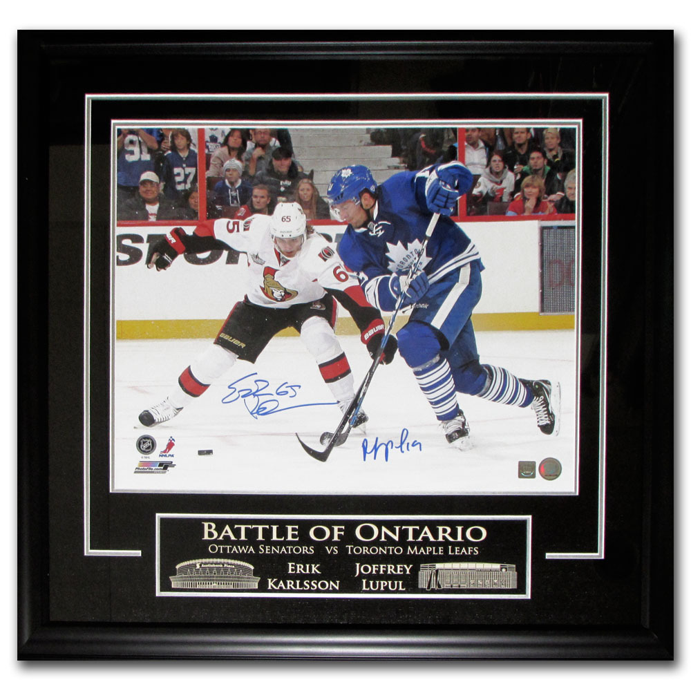 Erik Karlsson & Joffrey Lupul Autographed BATTLE OF ONTARIO Framed 16X20 Photo (Ottawa Senators, Toronto Maple Leafs)