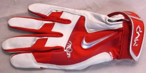 Photo of Mike Trout Autographed MVP Model Red/White/Silver Batting Glove (Right Hand)