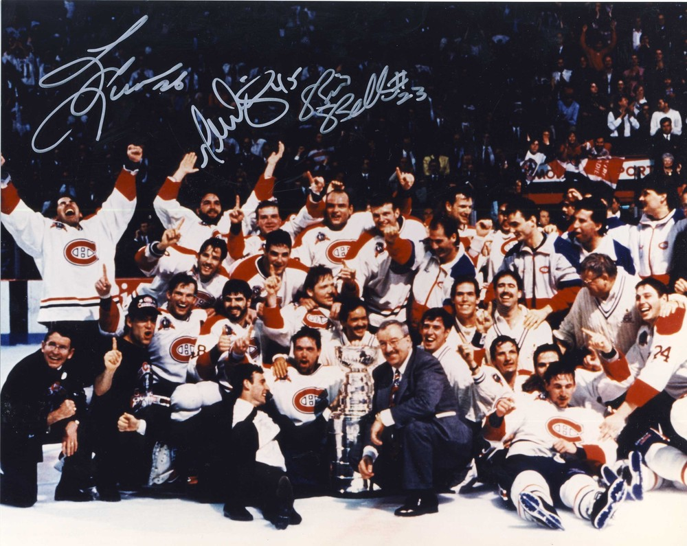 1992-93 Montreal Canadiens Stanley Cup Champions 8x10 Team Photo *3 Autographs* *Bellows, Dionne, Leeman*
