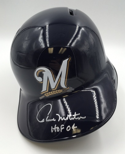 "Photo of Paul Molitor ""HOF 04"" Autographed Brewers Helmet"