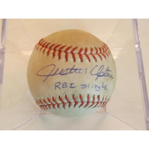 Photo of Autographed Game-Used Baseball: Justin Upton RBI Single