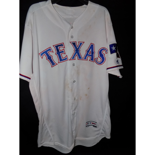 Photo of Mike Napoli Autographed Game-Used Walk-Off Home White Jersey From May 11, 2017 Vs. San Diego Padres