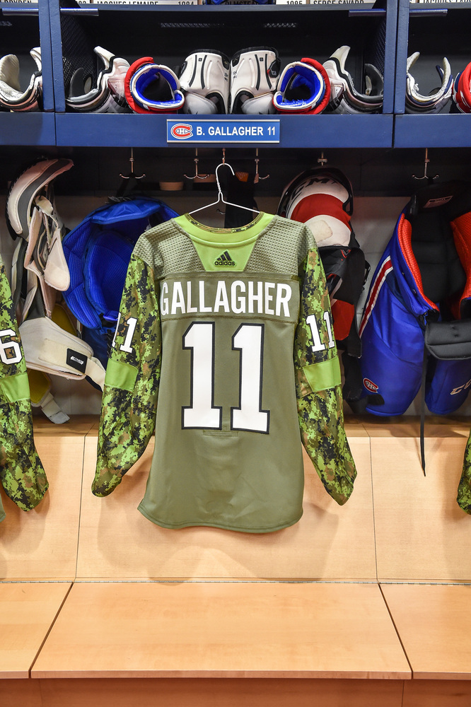 #11 Brendan Gallagher Warm-Up Worn and Autographed Military Jersey