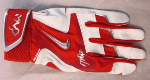 Photo of Mike Trout Autographed MVP Model Red/White/Silver Batting Glove (Left Hand)