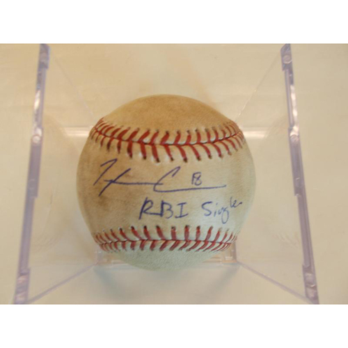 Photo of Autographed Game-Used Baseball: Tyler Collins RBI Single