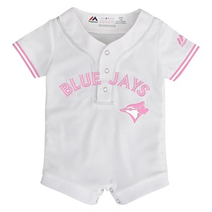 Toronto Blue Jays Newborn/Infant Jersey Romper White/Pink by Majestic