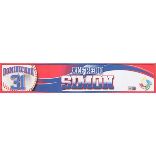 Photo of 2013 WBC: Dominican Republic Game-Used Locker Name Plate - #31 Alfredo Simon