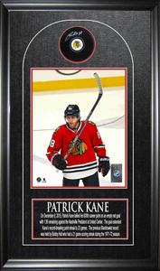 Patrick Kane - Signed 600 Point Celebration Puck Frame