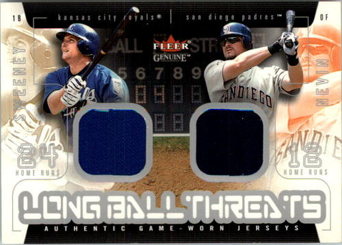 Photo of 2003 Fleer Genuine Longball Threats Dual Swatch #6 Mike Sweeney/Phil Nevin