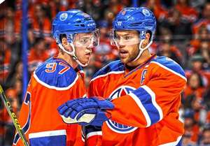 Connor McDavid & Taylor Hall - 20x29 Edmonton Oilers Teammates Canvas