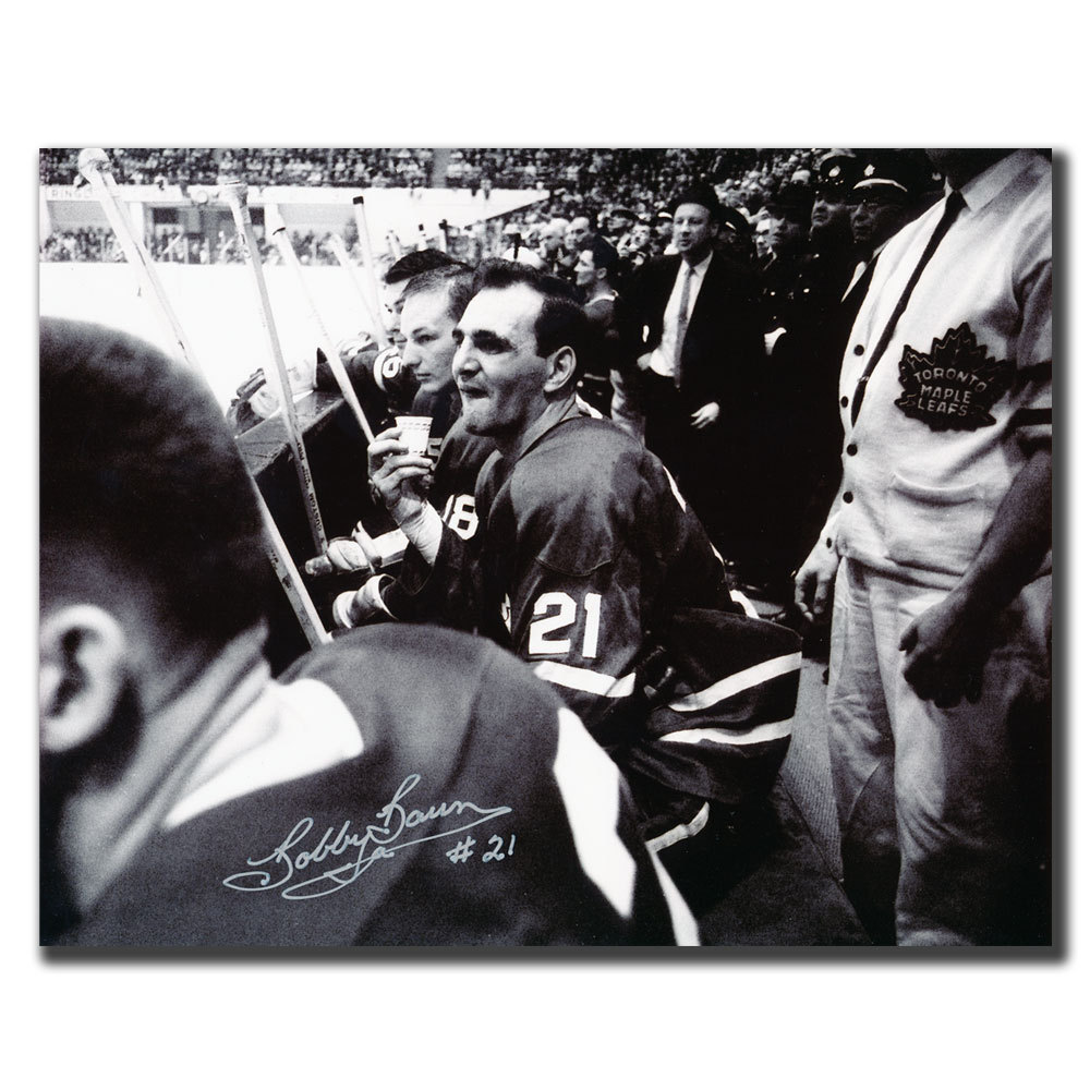 Bobby Baun Toronto Maple Leafs Bench Autographed 8x10