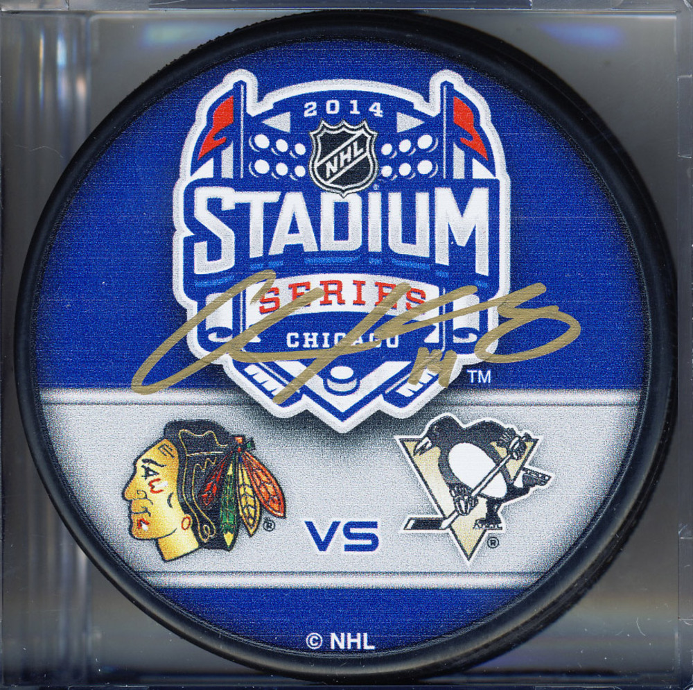 CHRIS KUNITZ Pittsburgh Penguins AUTOGRAPHED 2014 Stadium Series Hockey Puck