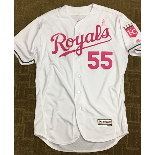Photo of Nathan Karns 2017 Mother's Day Game-Used Pink Jersey