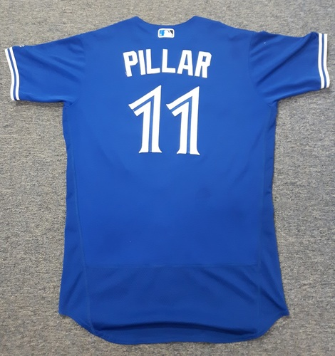 Authenticated Game Used Jersey - #11 Kevin Pillar - April 3, 2017 (Opening Day) - 1-for-4 with 1 Run and 1 Walk. Size 44.
