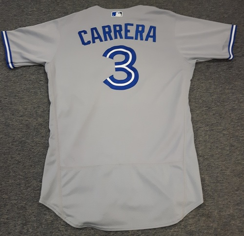 Photo of Authenticated Game Used Jersey - #3 Ezequiel Carrera (July 31, 2017 - Defensive Replacement). Size 44.