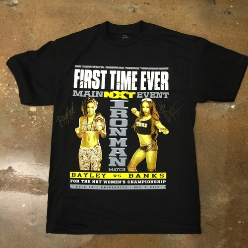 Photo of Sasha Banks & Bayley SIGNED NXT TakeOver IronMan Match T-Shirt