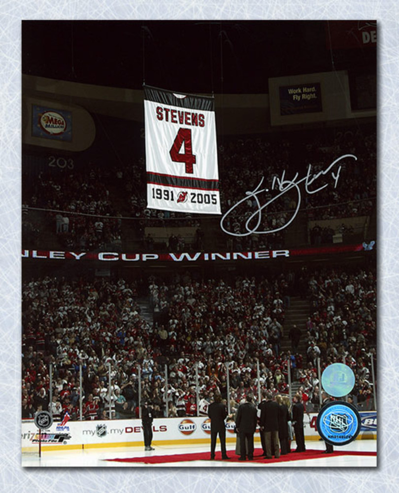 Scott Stevens New Jersey Devils Autographed Banner Retirement Night 8x10 Photo