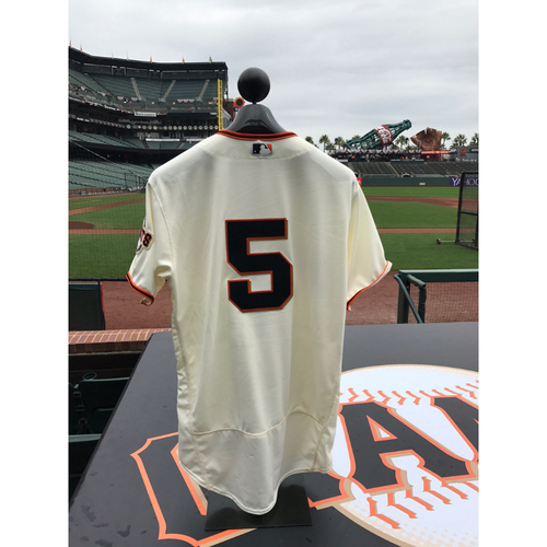 Photo of San Francisco Giants - Home Opening Day Jersey - Game Used - Nick Hundley #5