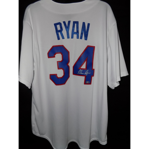 Photo of Nolan Ryan Autographed Cooperstown Collection Home White Texas Rangers Jersey