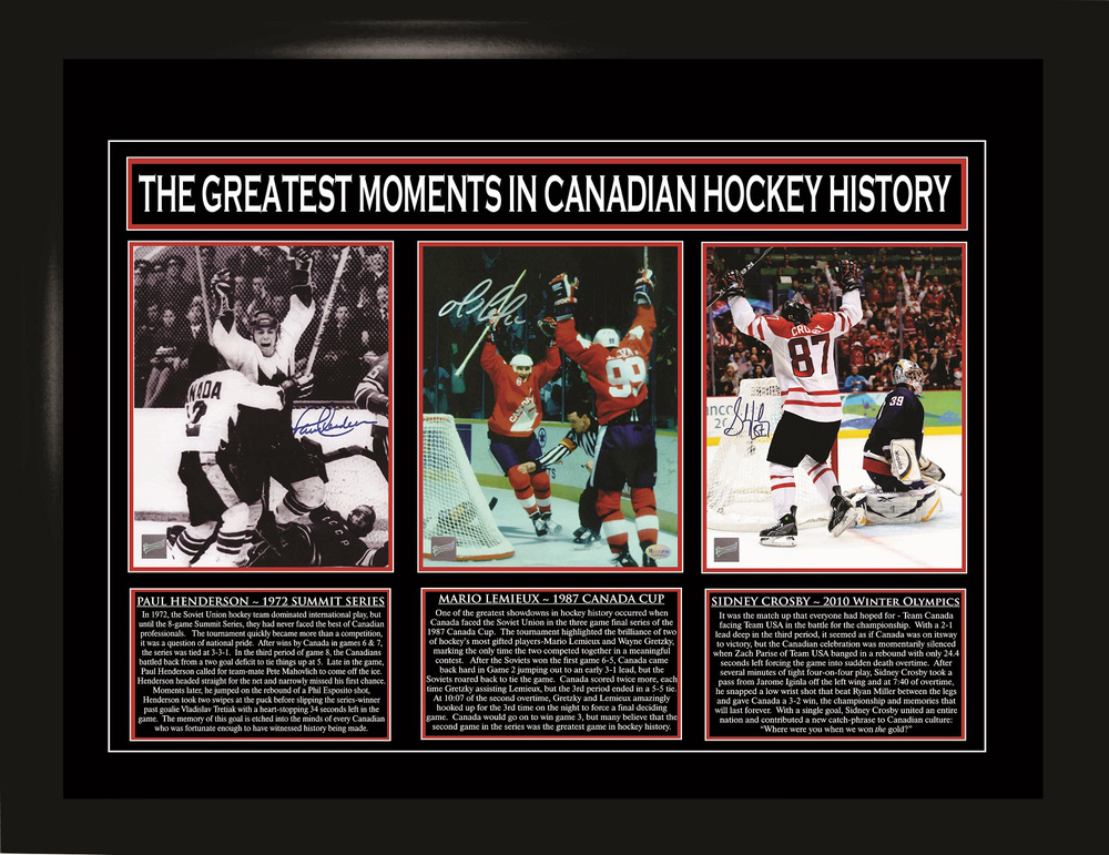 Sidney Crosby, Paul Henderson, Mario Lemieux - Multi-Signed & Framed Team Canada Collage