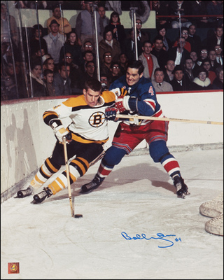 BOBBY ORR Boston Bruins SIGNED 16x20 Photo vs New York: GNR COA