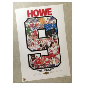 Gordie Howe, Mark Howe & Marty Howe   Autographed Detroit Red Wings Number 9 Lithograph