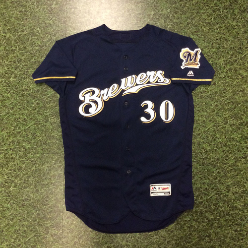 Photo of Craig Counsell 2016 Game-Used Home Navy Jersey