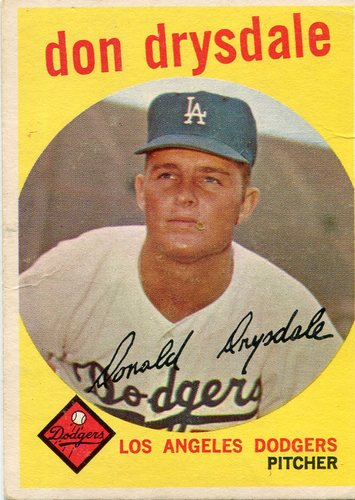 Photo of 1959 Topps #387 Don Drysdale Hall of Famer