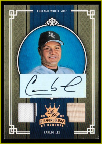 Photo of 2005 Diamond Kings Signature Materials Bronze #61 Carlos Lee Bat-Jsy/100