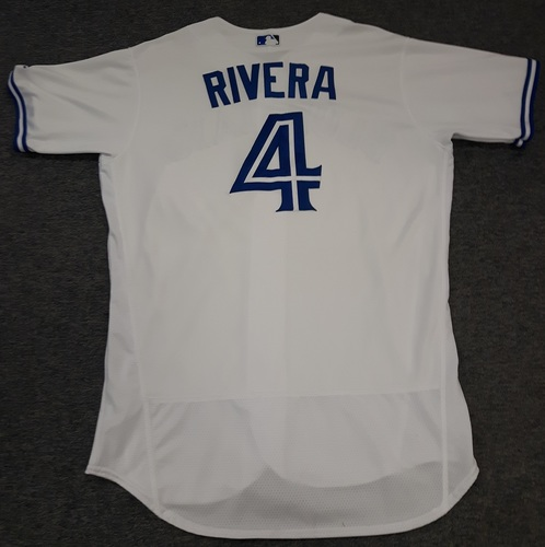 Photo of Authenticated Game Used Jersey - #4 Luis Rivera (April 11, 2017 - Home Opener). Size 46.