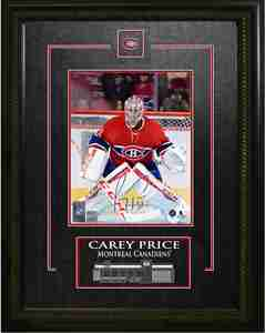 Carey Price - Signed & Framed 8x10 Etched Mat - Montreal Canadiens Red Action