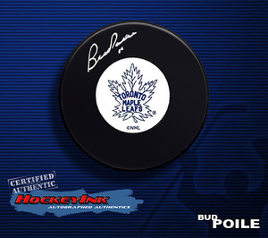 BUD POILE Signed Toronto Maple Leafs Vintage Puck