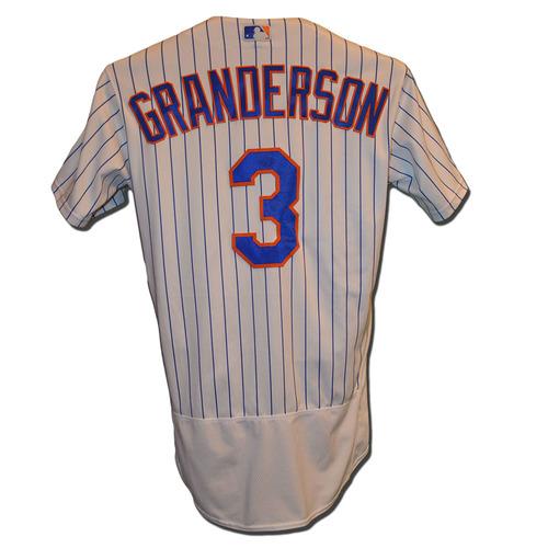 Photo of Curtis Granderson #3 - Game Used White Pinstripe Jersey - Granderson Goes 1-3 Hits Grand Slam, 4 RBI - Mets vs. Yankees - 8/17/17