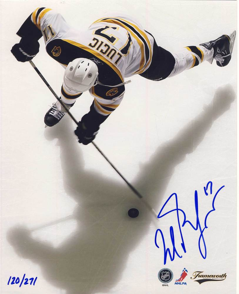 MILAN LUCIC Boston Bruins SIGNED 8x10 Overhead Photo