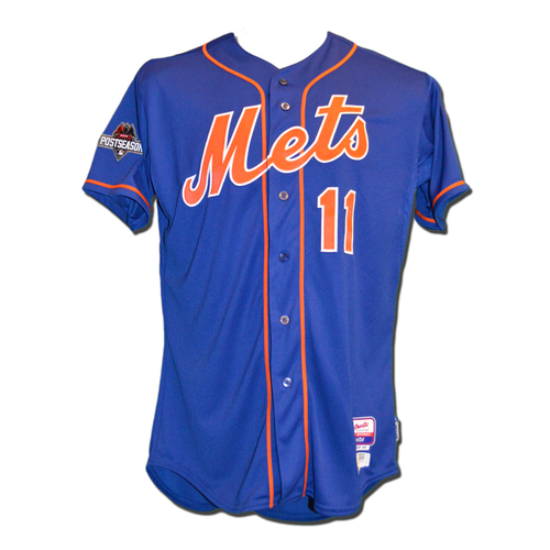 Photo of Ruben Tejada #11 - MLB Authenticated Team Issued 2015 Postseason Jersey - 2015 Postseason Patch on Right Sleeve