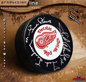 PRODUCTION LINE - HOWE, LINDSAY, ABEL Signed Detroit Red Wings Puck