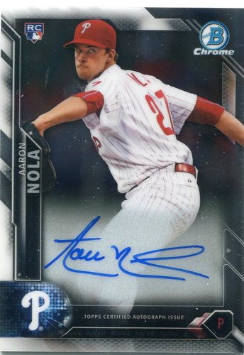 Photo of 2016 Bowman Chrome Rookie Autographs #CRAAN Aaron Nola