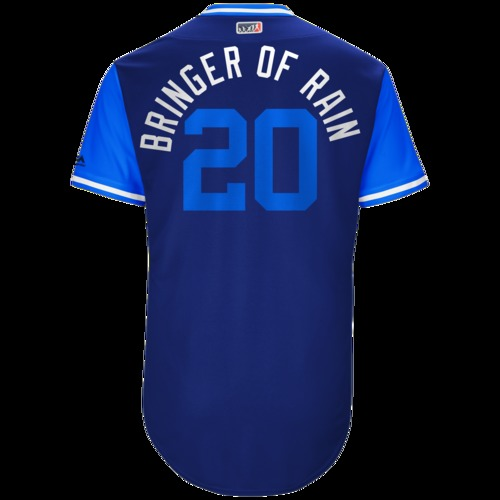 "Photo of Josh ""Bringer of Rain"" Donaldson Toronto Blue Jays Game-Used Players Weekend Jersey"