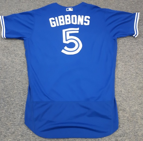 Photo of Authenticated Team Issued Jersey - #5 John Gibbons (2017 Season). Size 48.