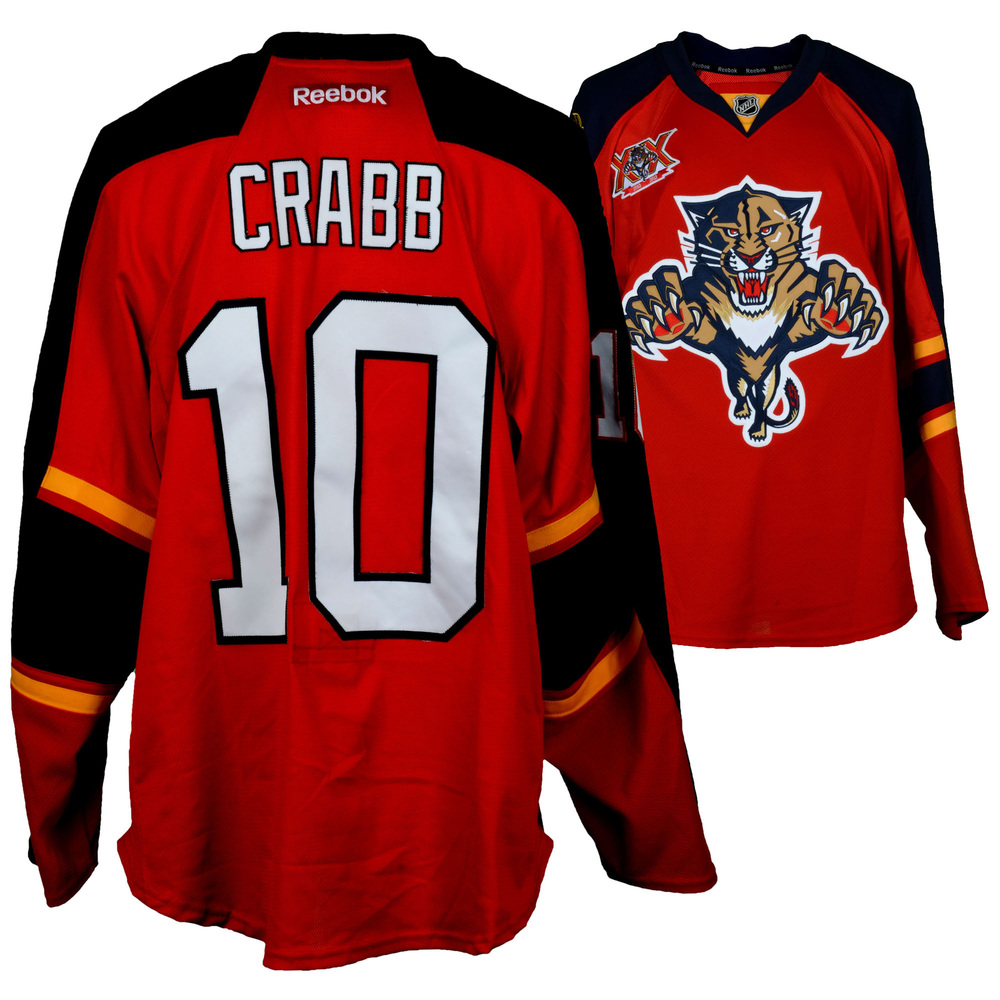 Joey Crabb Florida Panthers Game-Used #10 Red Jersey from the 2013-14 NHL Season - Size 56