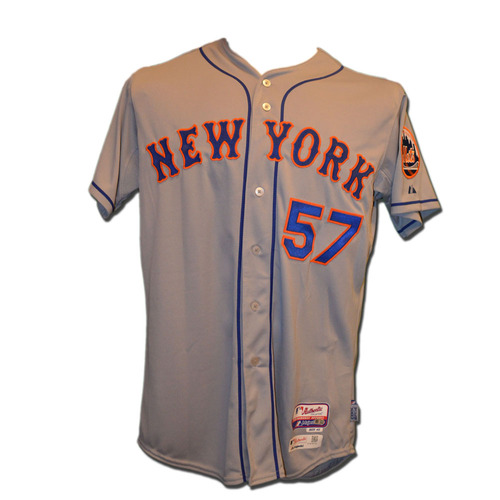 Photo of Kevin Long #57 - Game Used Road Grey Jersey - Mets vs. Phillies - 9/29/15