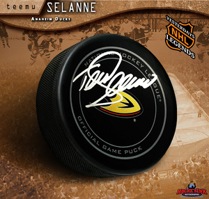 TEEMU SELANNE Signed Anaheim Ducks Offical Game Puck