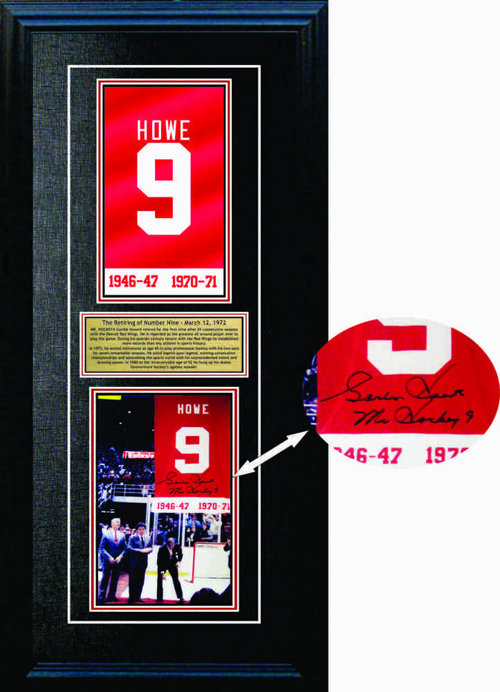 Gordie Howe signed 8x10 with Replica Retirement Banner