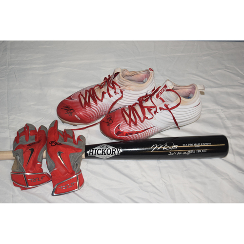 Photo of Mike Trout Package: Autographed Cleats, Bat and Batting Gloves Benefiting Pet Pal Animal Shelter