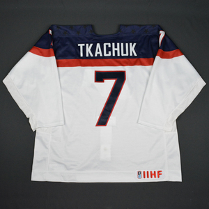 Matthew Tkachuk - 2016 U.S. IIHF World Junior Championship - White Game-Worn Jersey
