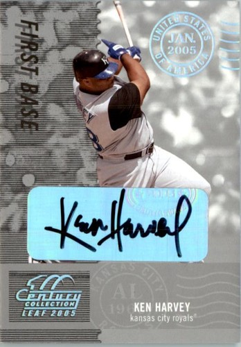Photo of 2005 Leaf Century Signature Post Marks Silver #128 Ken Harvey/250