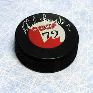 Phil Esposito Team Canada Autographed 1972 Summit Series Canada/CCCP Puck