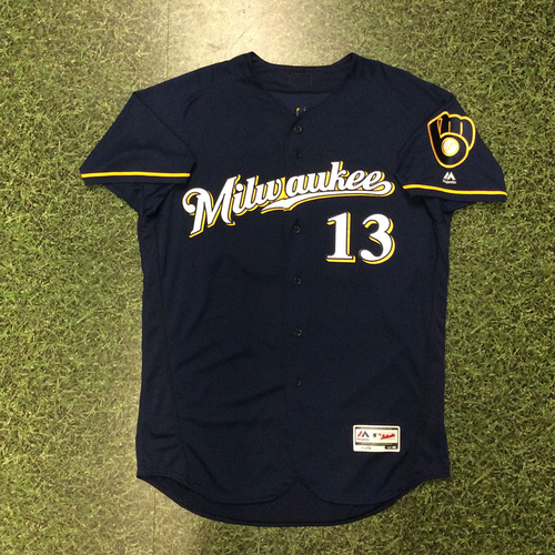 Photo of Andrew Susac 2016 Game-Used Navy Alternate Jersey